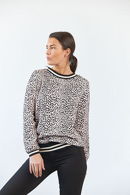 """Avery"" Bluse Leoprint m. Tape"