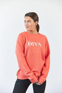 """Sweatshirt """"Diva"""" in Coral"""