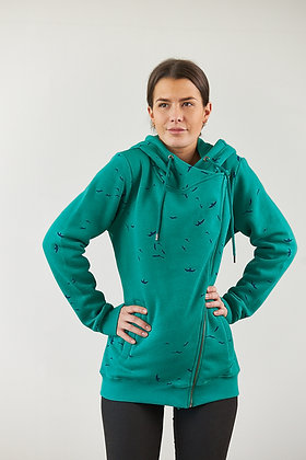 """Anika"" schräge Zipperjacke in Grün"