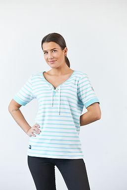"""T-Shirt """"Celeste"""" in Weiß/Türkis"""