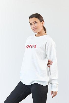 "Sweatshirt ""Diva"" in Weiß"