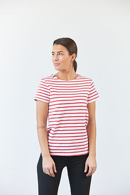 "T-Shirt ""Calvi"" in Weiß/Rot"
