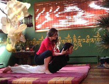 tess an client doing cobra a thai massage upper, lower back and shoulder opener