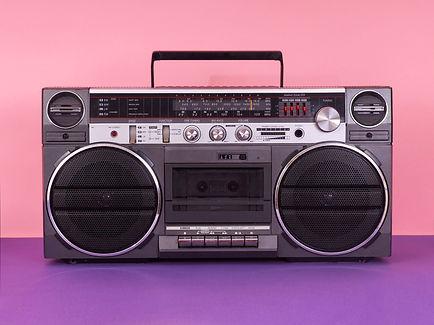 Vintage tape cassette player. Retro boom