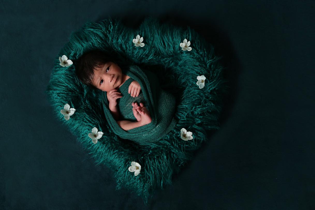 Baby photo in heart shape prop