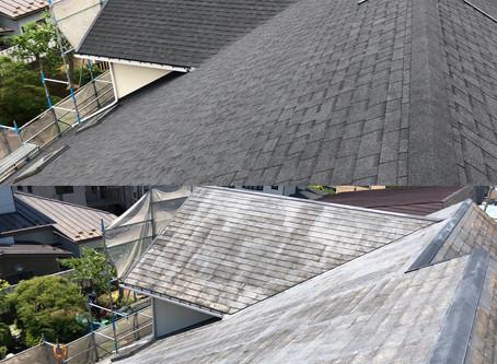 屋根カバー工法 コロニアルにオークリッジを重ね葺き 盛岡市
