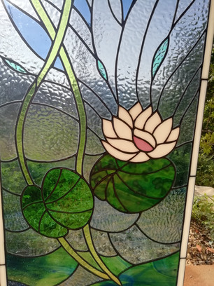 glass house algarve Water lily window . 97cm x 46.