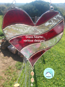 Glaas Hearts various colours and sizes