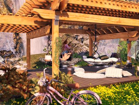 GOOSE - Wooden garden pergola / GOOSE - Hanging pod chair ADULT