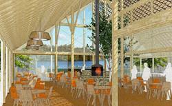 Cafe overlooking lake