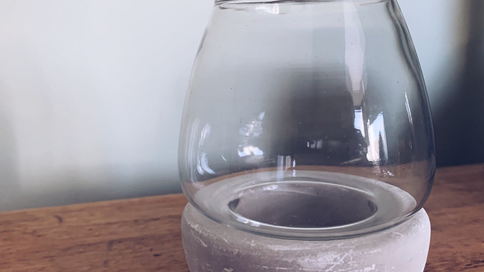 Concrete and Glass Candle Holder