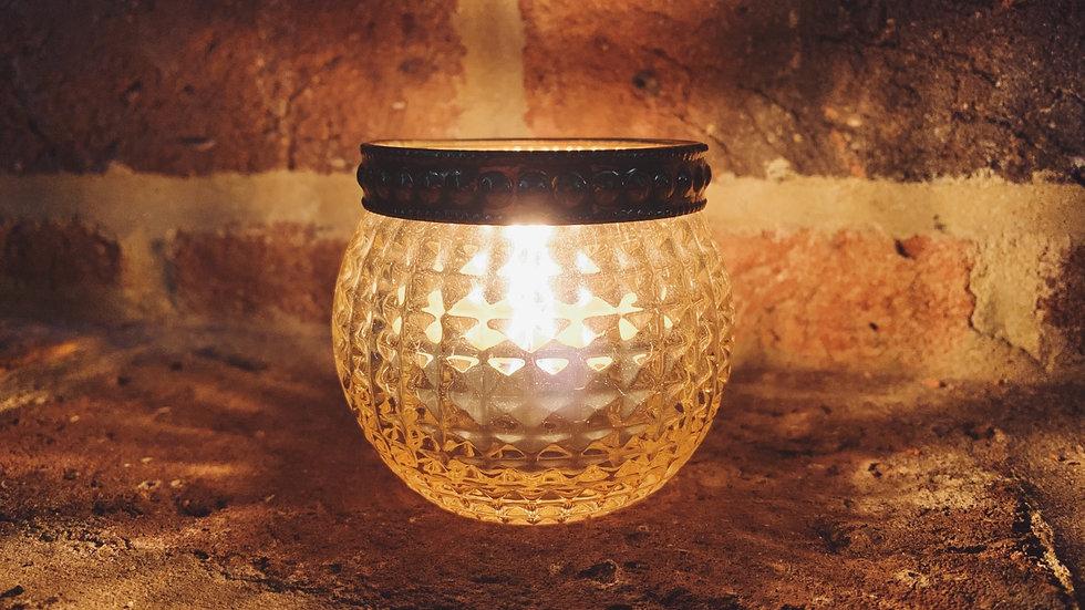 Textured Glass Round Tealight Holder