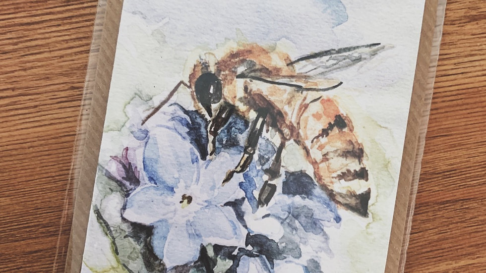 Forget-Me-Not and Honey Bee Notecard