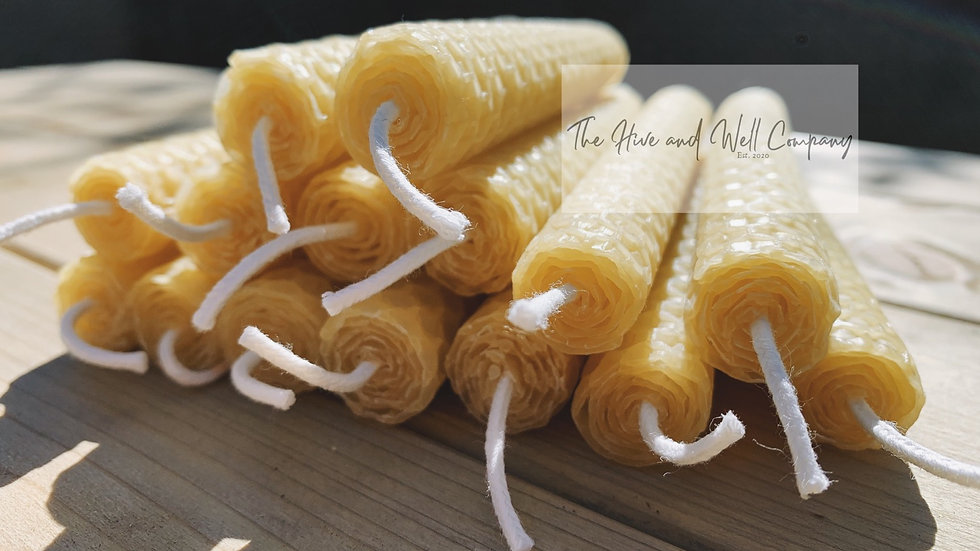 Hand rolled Beeswax Candle - 125mm