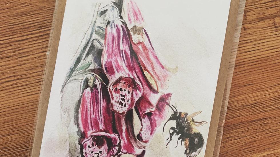 Foxglove and Bumble Bee Notecard