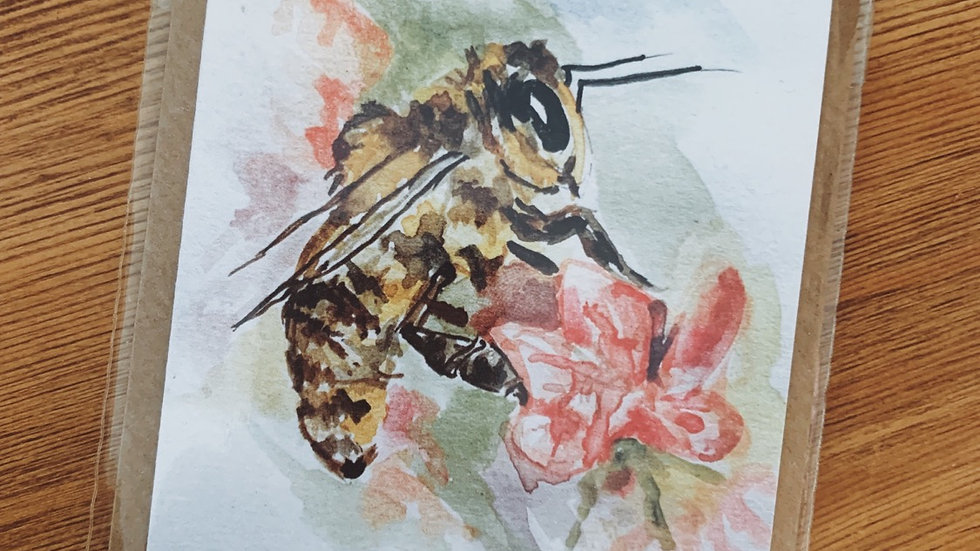 Pink Flower and Honey Bee Notecard