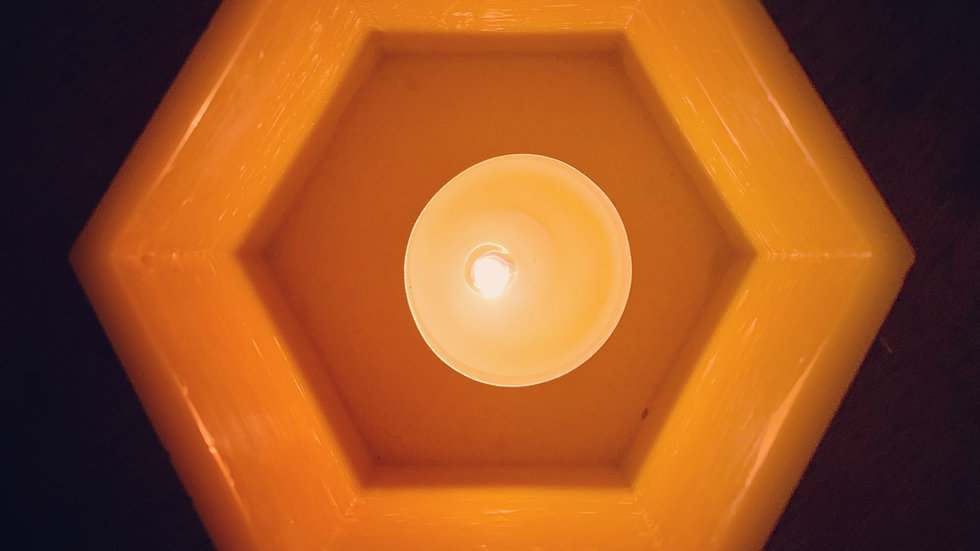 Handmade Beeswax Luminary with Beeswax Tealight