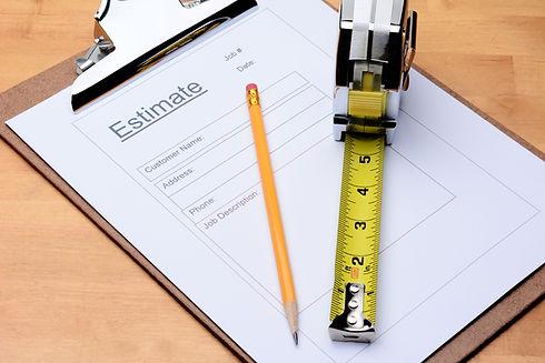 Closeup of a Contractors estimate form w
