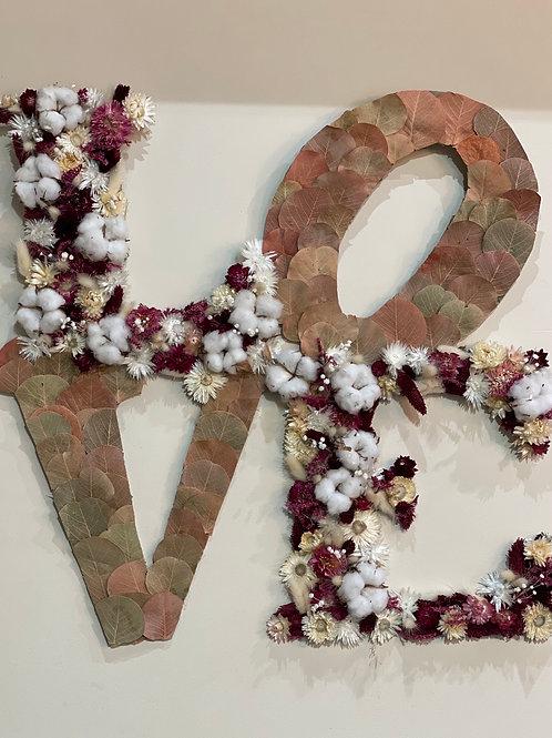 Tableau de fleurs séchées «Love»