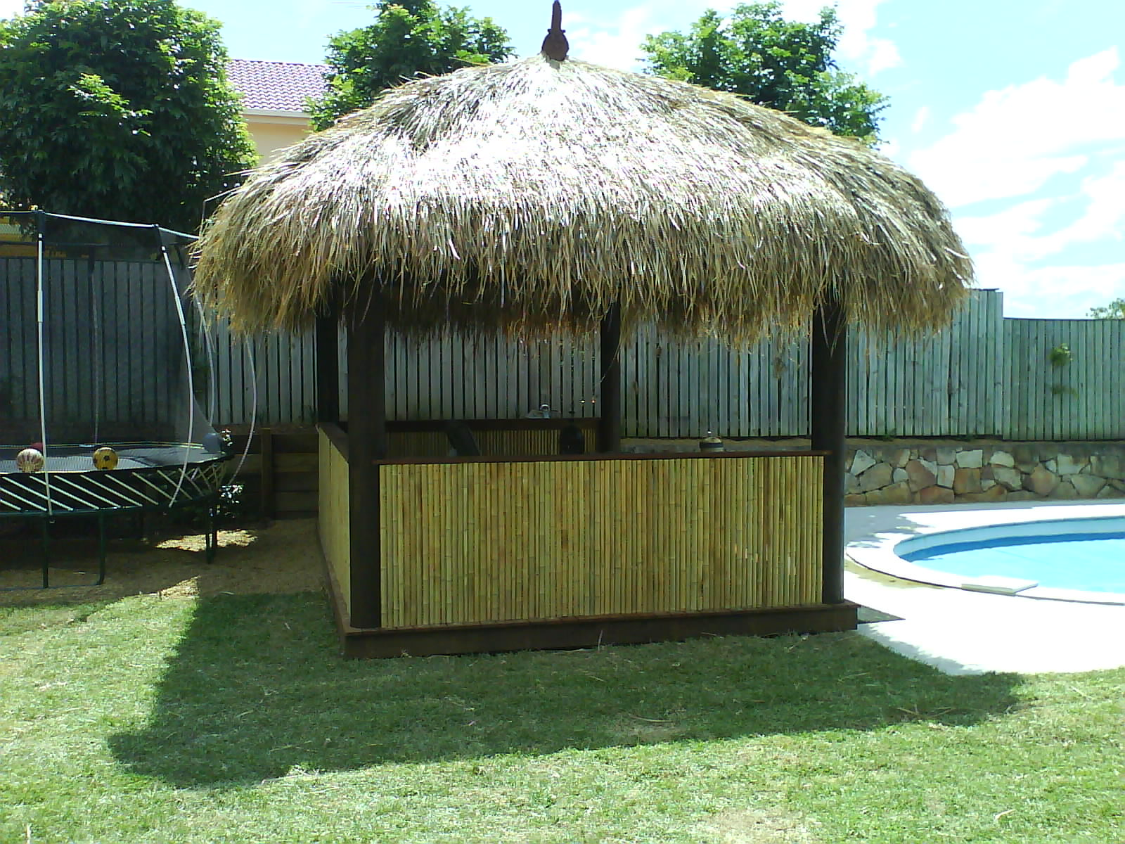 Bali hut- Poolside roof shaded areas