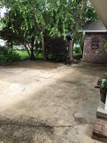 Back patio before pressure cleaning