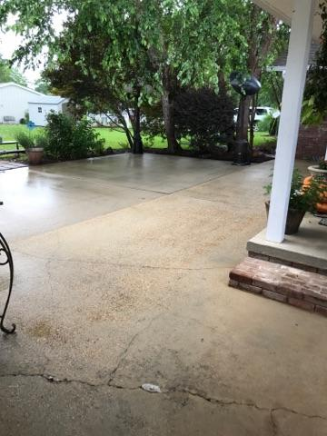 Back patio after pressure cleaning