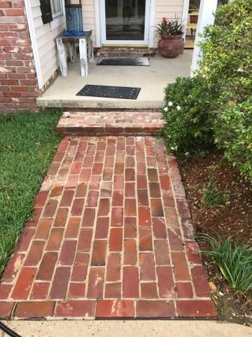 Brick walkway after