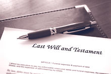 Last Will and testament document with pe