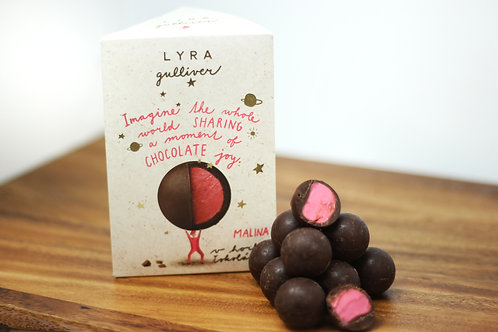 Dark chocolate trufles with raspberry filling 100g