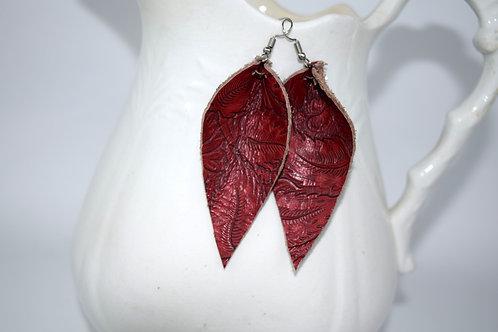 Leaf Earrings - red floral