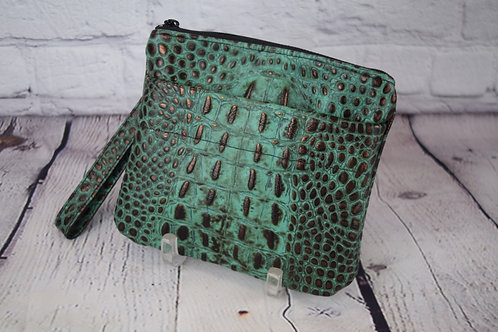 Wristlet - Alligator Embossed Leather Lined with Outside Pocket