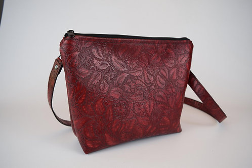 1311 Red Floral Leather concealed carry crossbody/ with OR without matching hols