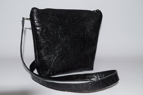 1112 Concealed Carry Floral Embossed Crossbody Purse with Cut Resistant Strap