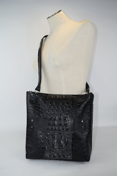 1414 Black crocodile embossed cowhide leather purse removable cross-body strap/C