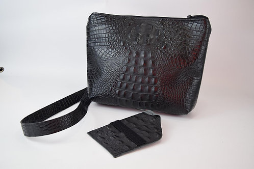 1311 Black Croc Leather crossbody purse OR CC with matching holster / cut-resist