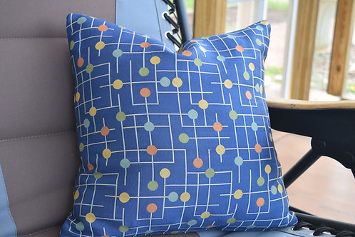 Blue Abstract Pillow Cover 18 x 18