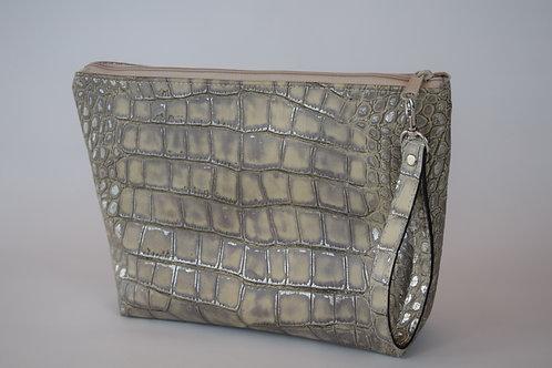 Large CC Crocodile Embossed Leather Wristlet