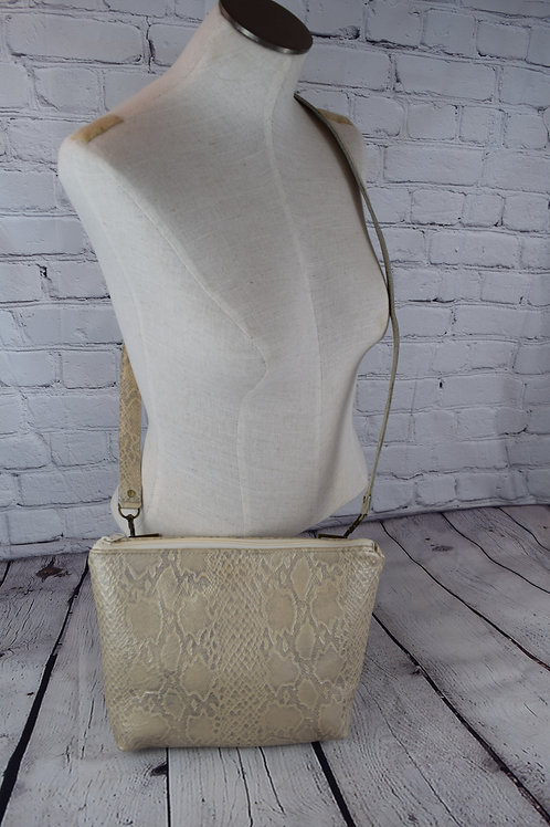 1311 Python Embossed Leather CC Crossbody Purse with Cut-Resistant Strap