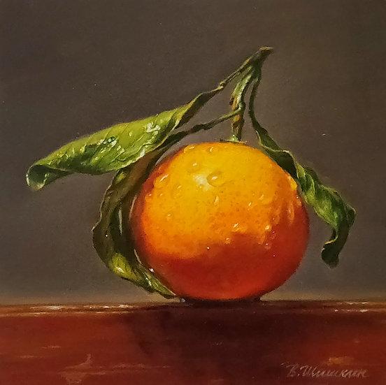 Hyperrealistisch stilleven met sinaasappel met waterdruppels - Valery Shishkin