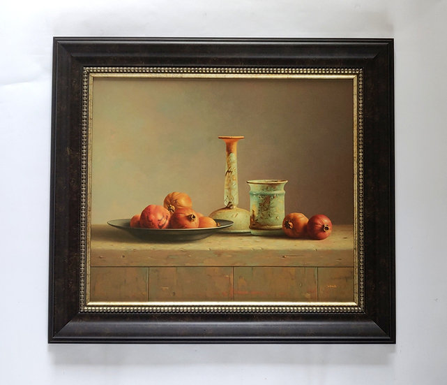 Stilleven met granaatappels en romeins glas - Wil Smits