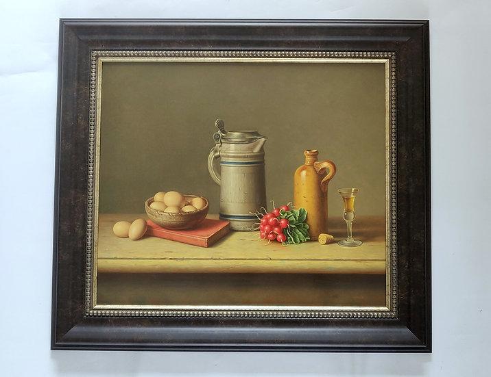 Stilleven met eieren in schaaltje, kruik, kan en glaasje - Wil Smits