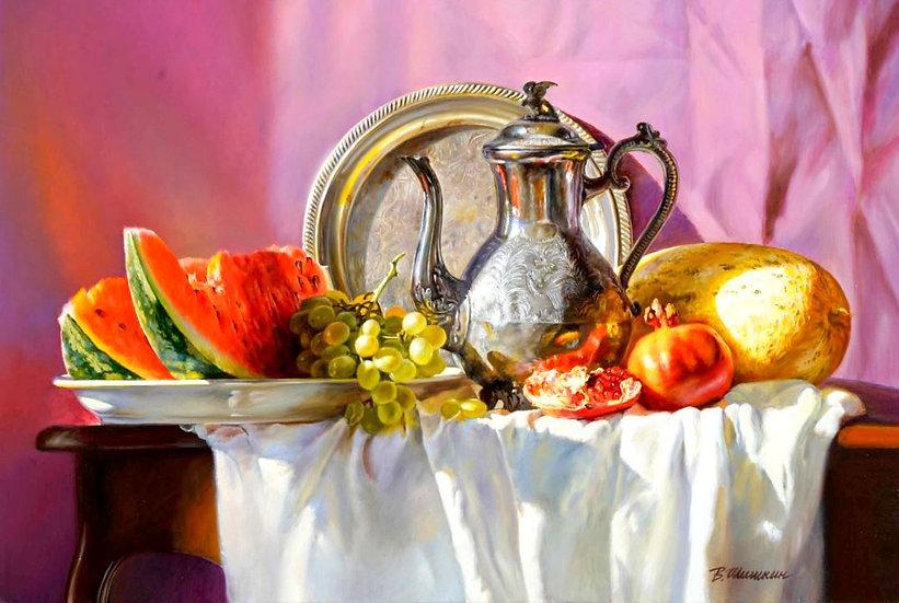 Stilleven met kan, watermeloen, druiven en granaatappels