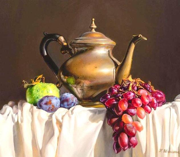Stilleven met kan, druiven appel en pruimen