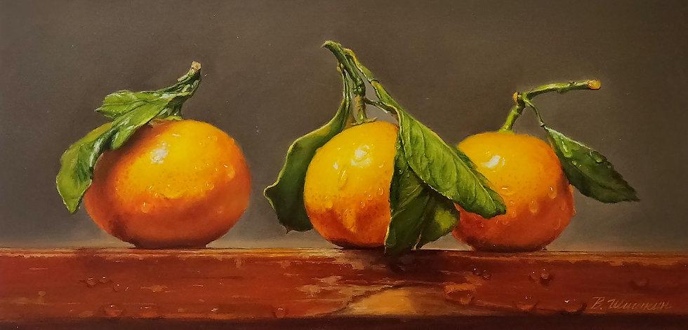 Hyperrealistisch stilleven met sinaasappels met waterdruppels - Valery Shishkin