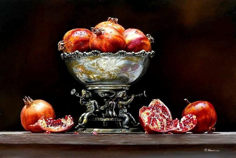 Stilleven met granaatappels en imposanteschaal