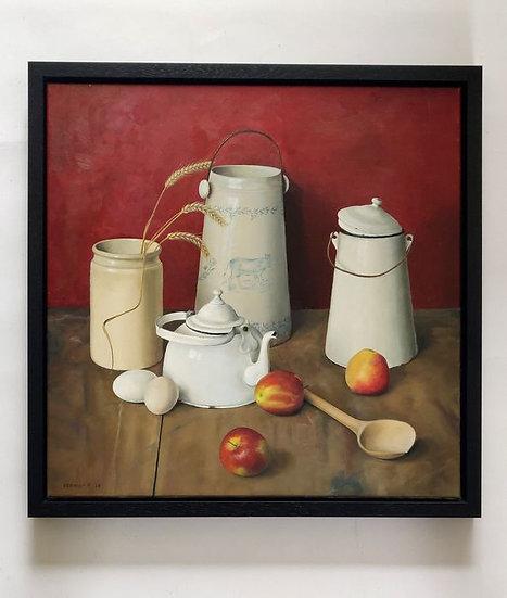 Stilleven met appels, kannetje, eieren, potten en houten lepel