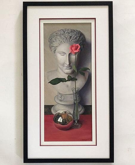 Stilleven met beeld, roos en spiegelende bol