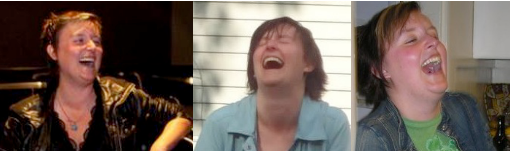 3 pictures of Melissa laughing