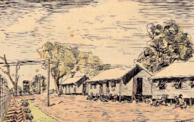 Drawing is of an interment camp in Australia where 2,550 men were sent after a voyage on HMS Dunera in appalling conditions