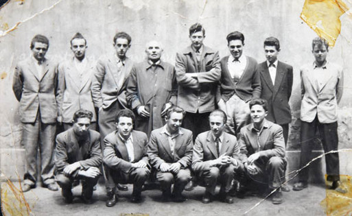 Class of 1956 from the Gymnasium. Tom is the tallest in the back row next to Prof. Straszer. Lazlo Klein is front row centre. All the boys in this photograph left Hungary